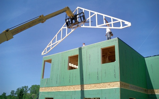 Raising first truss