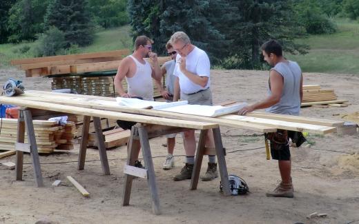 Team discussing porch construction