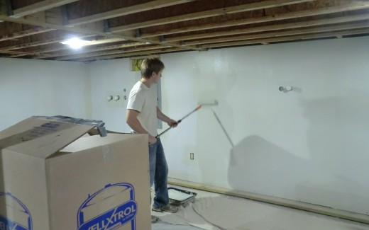 Painting crawlspace wall