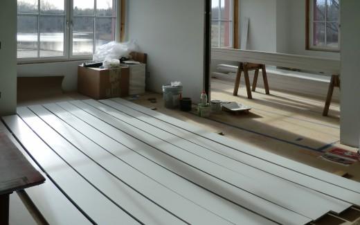 Painting window trim in kitchen