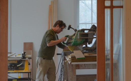 Larry sawing stair tread
