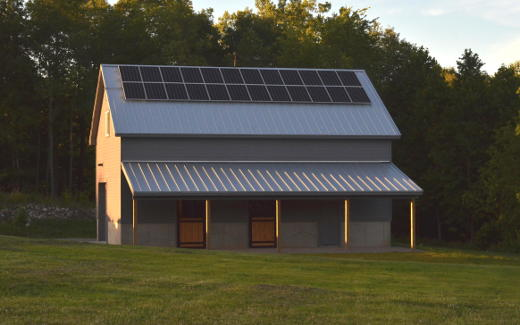 Solar array on barn